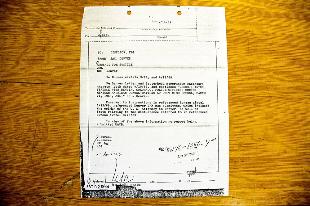 "The cover page of an FBI report on clashes between Mexican-American activists and Denver police at West High School in 1969. (Denver Public Library/Western History Collection/Rodolfo ""Corky"" Gonzales Papers)  denver public library; dpl; cinco de mayo; chicano; denverite; denver; colorado; archive;"