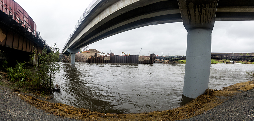 The South Platte swells beneath Globeville Landing Park from a spring storm, May 18, 2017. (Kevin J. Beaty/Denverite)  south platte river; globeville; weather; cowx; denver; colorado; kevinjbeaty; denverite;