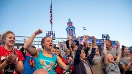 The crowd goes wild at the American Ninja Warrior finals shoot in front of the City and County Building, May 25, 2017. (Kevin J. Beaty/Denverite)  american ninja warrior; civic center park; denver; denverite; colorado; kevinjbeaty