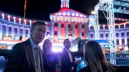 Governor John Hickenlooper visits the American Ninja Warrior finals shoot in front of the City and County Building, May 25, 2017. (Kevin J. Beaty/Denverite)  american ninja warrior; civic center park; denver; denverite; colorado; kevinjbeaty