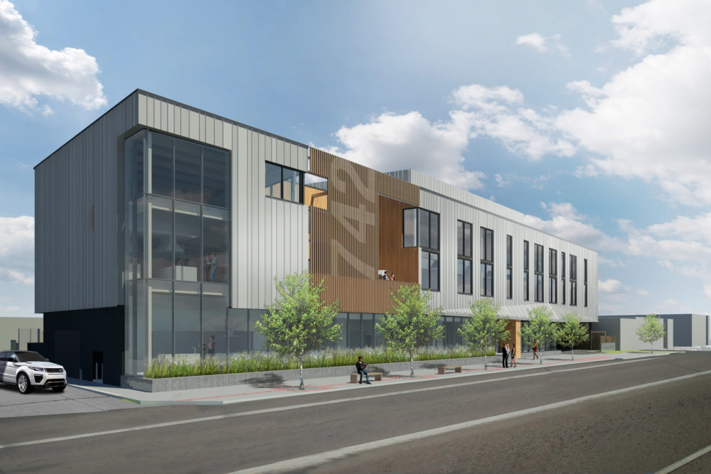 A rendering of the three-story office building slated to replace the former Griff's Hamburgers. (Courtesy of Arch 11)