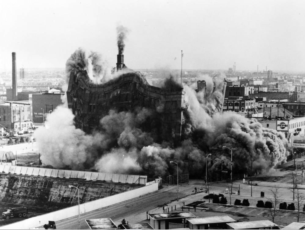 The Cooper Building at 17th and Curtis streets is demolished in 1970. (Robert W. Schott/Western History & Genealogy Dept./Denver Public Library)