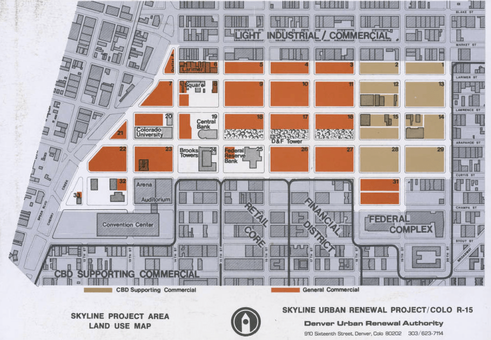 A map of anticipated land uses in the Skyline Urban Renewal Project. (Denver Public Library)