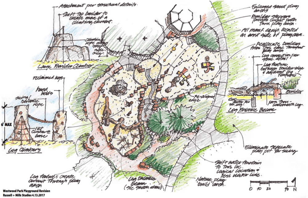 A sketch of plans for Westwood Park. (Russell + Mills Studios/City of Denver)