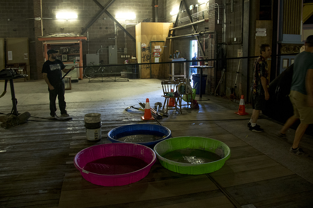 Baby pools are necessary to curb the effects of old leaky ceilings inside the Historic Elitch Theatre, West Highland, June 3, 2017. (Kevin J. Beaty/Denverite)  historic elitch theatre; west highland; kevinjbeaty; denver; theater; colorado; denverite;