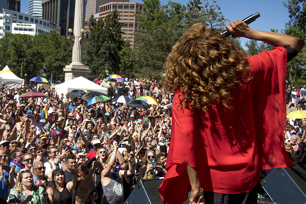 "Jennifer Holliday, of ""Dreamgirls,"" performs on the main stage. Denver PrideFest, June 18, 2017. (Kevin J. Beaty/Denverite)  pride; lgbtq; kevinjbeaty; denver; denverite; colorado; civic center park;"