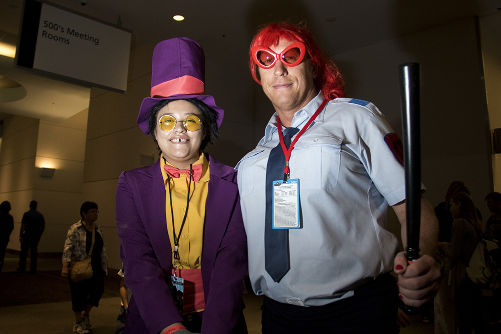 Jesse (left) and Mark Baier as the warden and Alice from Superjail. Denver Comic Con 2017. (Kevin J. Beaty/Denverite)