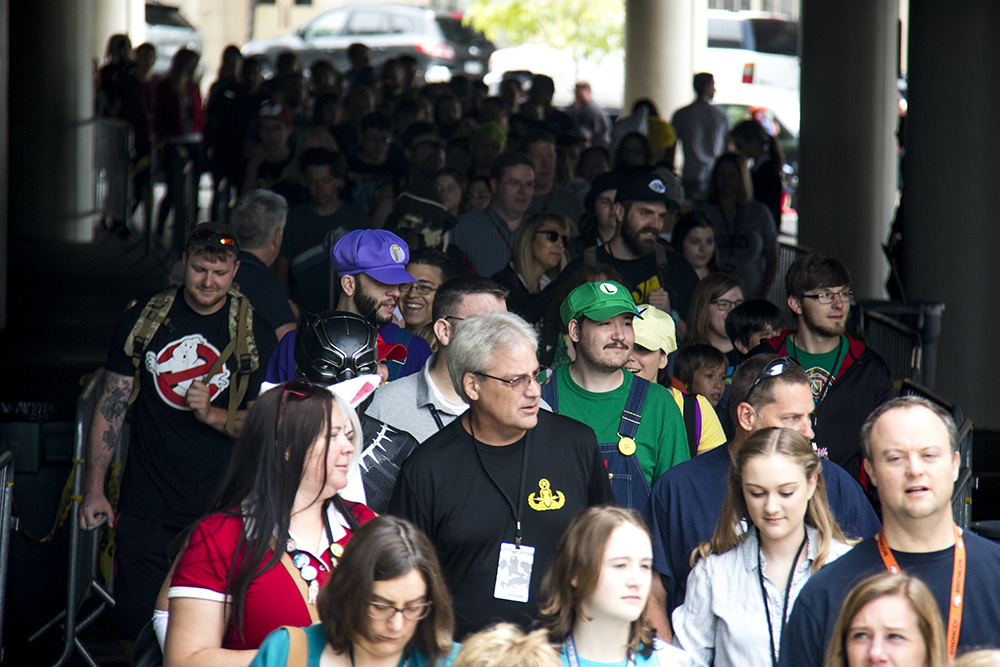 A seemingly never-ending line of Denver Comic Con attendees. (Kevin J. Beaty/Denverite)  comic con; cosplay; kevinjbeaty; denver; denverite; colorado;