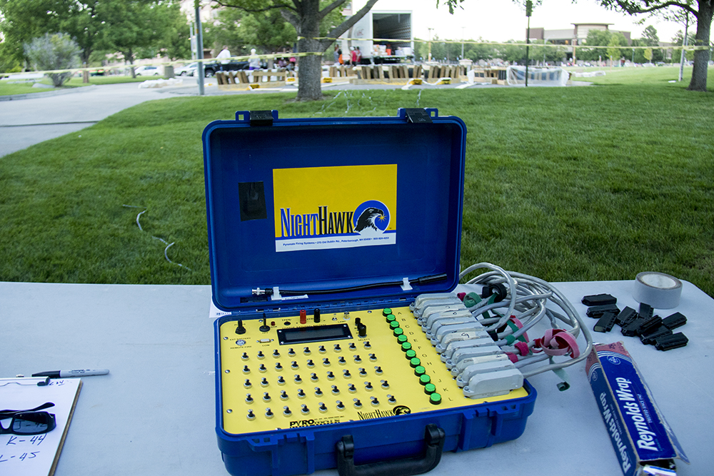 The fireworks control panel. The Glendale 4th of July fireworks show, July 1, 2017. (Kevin J. Beaty/Denverite)  denver; colorado; kevinjbeaty; denverite; fourth of july; 4th of july; july 4th; july fourth; independence day; glendale; fireworks