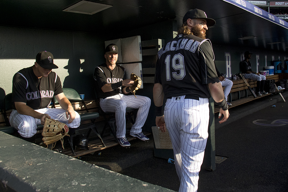Charlie Blackmon in the Rockies' dugout. Colorado Rockies vs Chicago White Sox, July 8, 2017. (Kevin J. Beaty/Denverite)  colorado rockies; baseball; coors field; denver; denverite; colorado; kevinjbeaty;