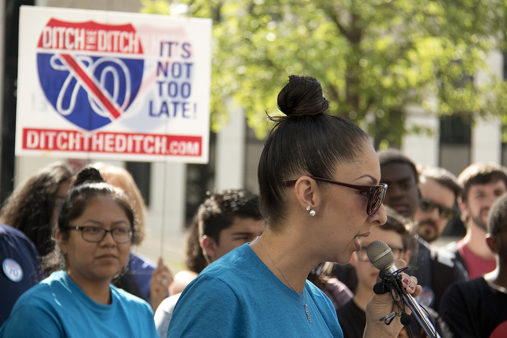 "Candi CdeBaca. ""Ditch the Ditch"" activists announce a new lawsuit challenging the I-70 expansion outside the Alfred A. Arraj United States Federal Courthouse, July 10, 2017. (Kevin J. Beaty/Denverite)  i-70; i70; ditch the ditch; denver; colorado; denverite; lawsuit; kevinjbeaty;"