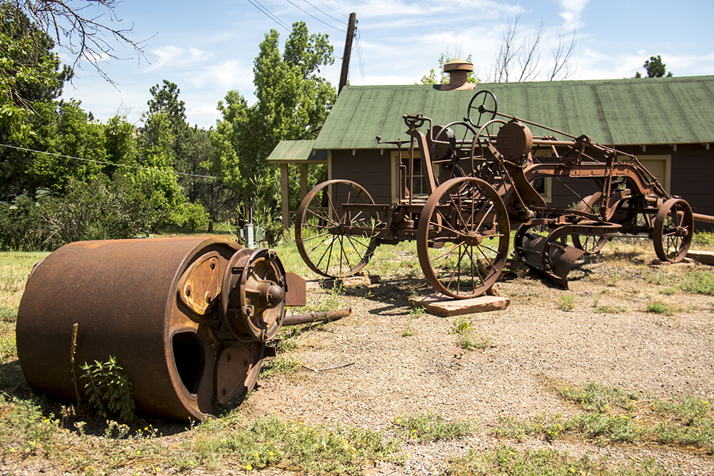 Old analog machinery outside of CCC cabins. Red Rocks, July 11, 2017. (Kevin J. Beaty/Denverite)  red rocks; Civilian Conservation Corps; history; kevinjbeaty; morrison; colorado; denverite;