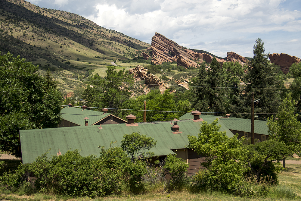 A CCC cabin and the amphitheater members helped build. Red Rocks, July 11, 2017. (Kevin J. Beaty/Denverite)  red rocks; Civilian Conservation Corps; history; kevinjbeaty; morrison; colorado; denverite;