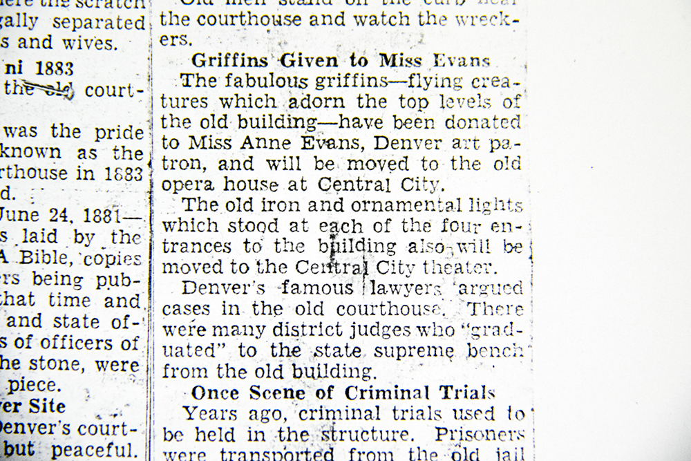 """Griffins Given to Miss Evans,"" Rocky Mountain News, 1933. (Denver Public Library/Western History Collection/clippings file)  arapahoe courthouse; history; archival; downtown; denver public library; colorado; denverite"