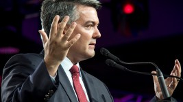 Senator Cory Gardner speaks at the Western Conservative Summit, July 21, 2017. (Kevin J. Beaty/Denverite)  western conservative summit; wcs; protest; cory gardner; healthcare; adapt; medicaid; denver; denverite; kevinjbeaty; corygardner;