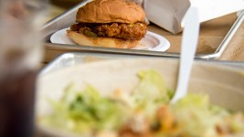 A chicken sandwich at Birdcall, Five Points. July 25, 2017. (Kevin J. Beaty/Denverite)  food; birdcall; five points; chicken sandwich; denver; restaurants; kevinjbeaty; denver; denverite; colorado;