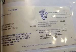 The receipt for Dail Davidson's season ticket in 1969. (Courtesy of Amanda Sandvig)