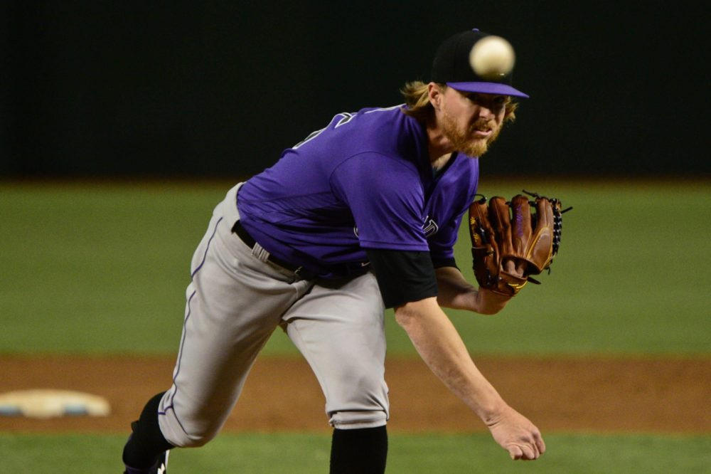 Colorado Rockies starting pitcher Jon Gray (55) throws in the first inning against the Arizona Diamondbacks at Chase Field. Jun 30, 2017; Phoenix, AZ. (Matt Kartozian/USA TODAY Sports)