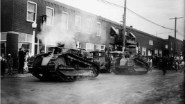 Two military tanks parade through Arvada in 1927. (William L. Ford/Western History & Genealogy Dept./Denver Public Library)