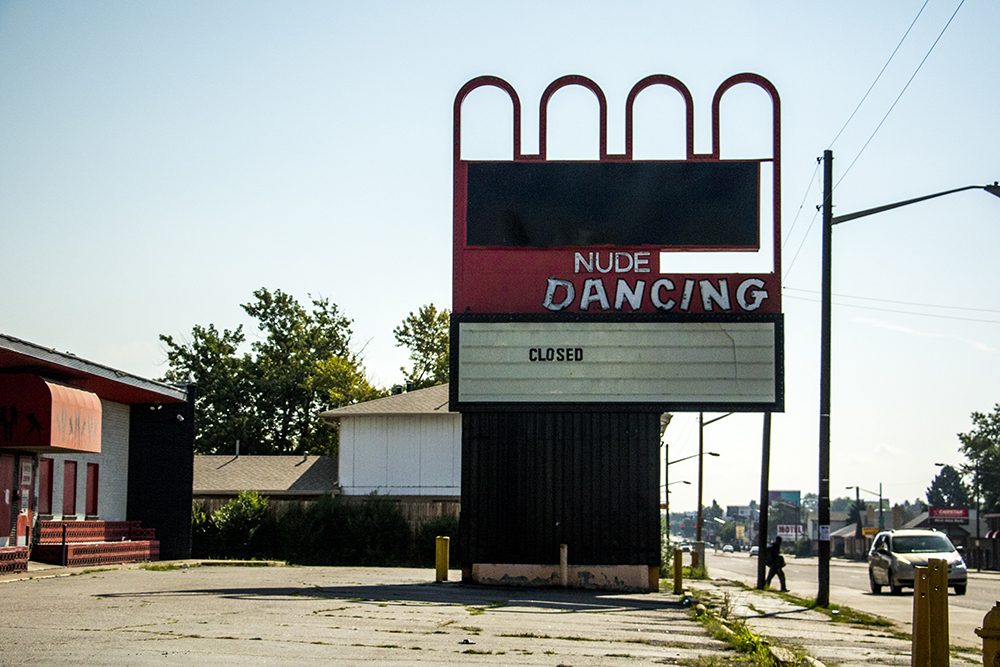 A closed strip club on East Colfax, 8315 E. Colfax Ave. (Kevin J. Beaty/Denverite)