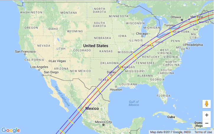 The path of totality for the 2024 eclipse. (NASA/Google Maps)