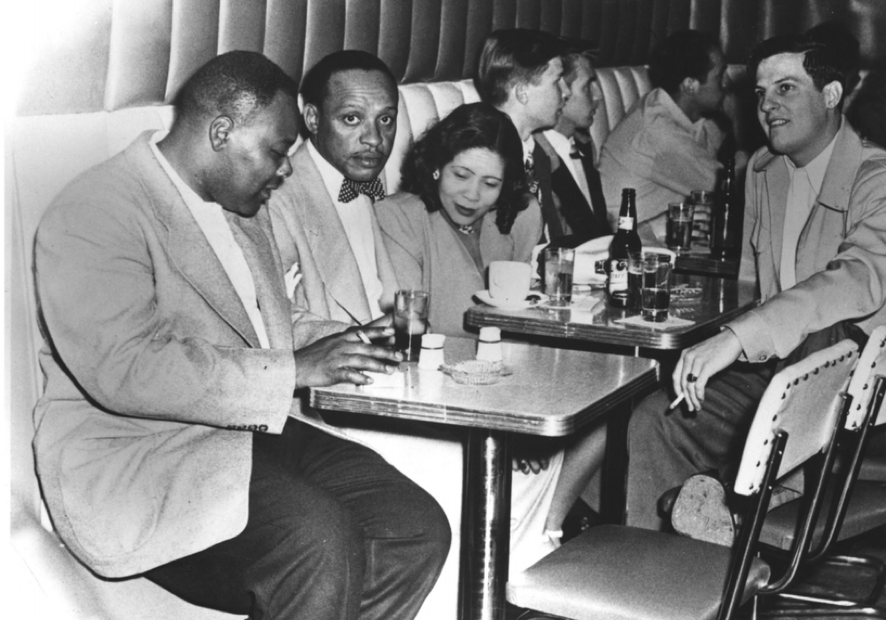 Bandleader Lionel Hampton and friends at Rossonian Lounge in 1948. (Black American West Museum/National Register of Historic Places)