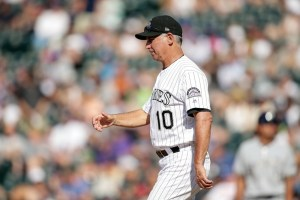 Bud Black marches out to the mound Sunday. (Isaiah J. Downing/USA Today Sports)
