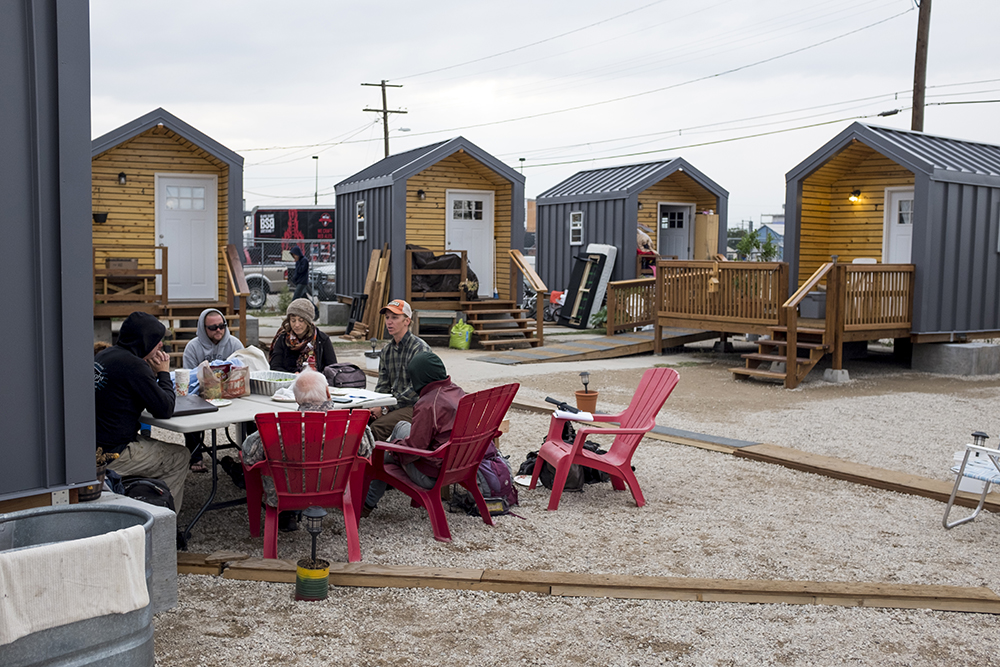 A Beloved Community Tiny Home Village leadership board meeting, Sept. 26, 2017.(Kevin J. Beaty/Denverite)  denver; colorado; denverite; kevinjbeaty; tiny home village; homelessness; right to rest; five points; 38th and Blake; affordable housing;