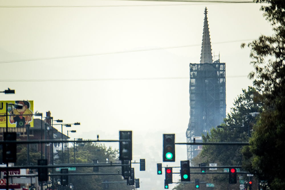 Lots of stoplights and the Cathedral Basilica of the Immaculate Conception on East Colfax Avenue, Sept. 7. 2017. (Kevin J. Beaty/Denverite)