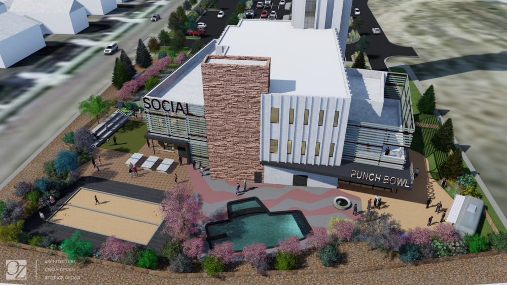 A rending of the Punch Bowl Social coming to Stapleton. (OZ Architecture)