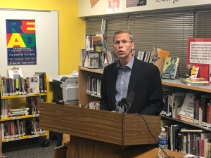 Denver Public School District superintendent Tom Boasberg announced a shakeup at Denver East High School on Friday. (Christian Clark/Denverite)