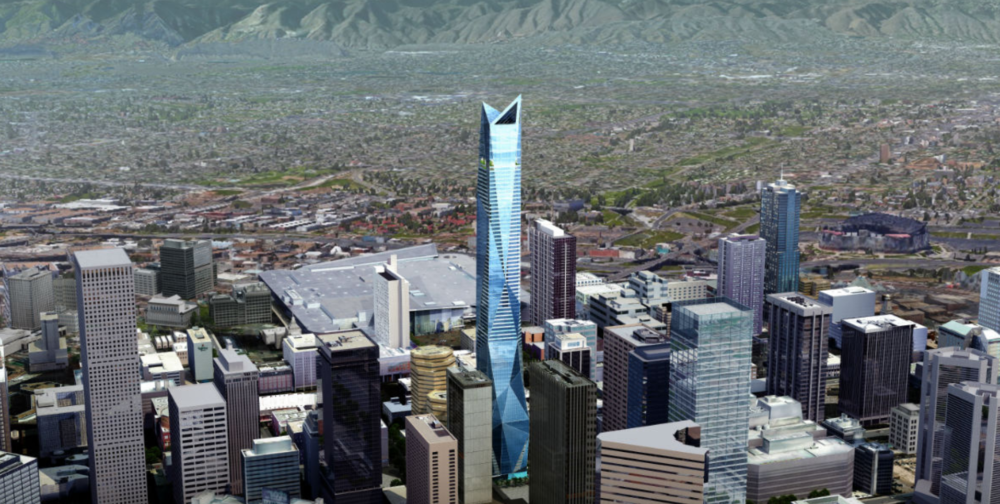 A rendering of the skyscraper planned for 650 17th Street. (Courtesy of Greenwich Realty Capital)
