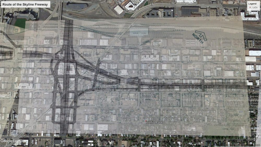 The path of the never-built Skyline Freeway along Lawrence and Larimer streets in Five Points. (Courtesy u/Jadebenn, aerial imagery from Google Earth)
