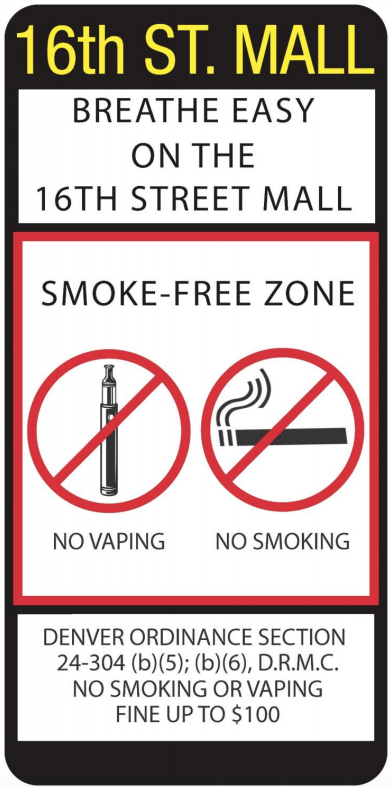 A draft of a sign that could be used if a smoking ban is approved for the 16th Street Mall. (City of Denver)