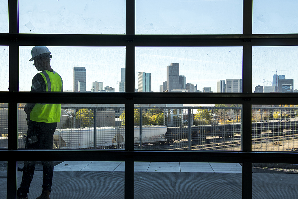 Developer Kyle Zeppelin in his Zeppelin Station, which is under construction, Oct. 17, 2017. (Kevin J. Beaty/Denverite)   denver; colorado; denverite; kevinjbeaty; development; construction; rino; five points; zeppelin station;