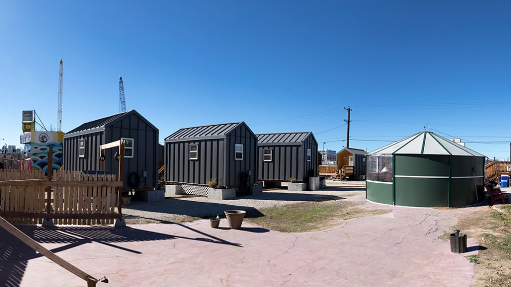 The Beloved Community Tiny Home Village, Oct. 29, 2017. (Kevin J. Beaty/Denverite)  tiny homes; beloved community tiny home village; rino; five points; homeless; right to rest; kevinjbeaty; denver; denverite; colorado;