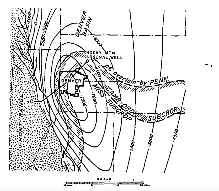 A map from a 1966 study of induced seismicity in Denver. (Stanford)