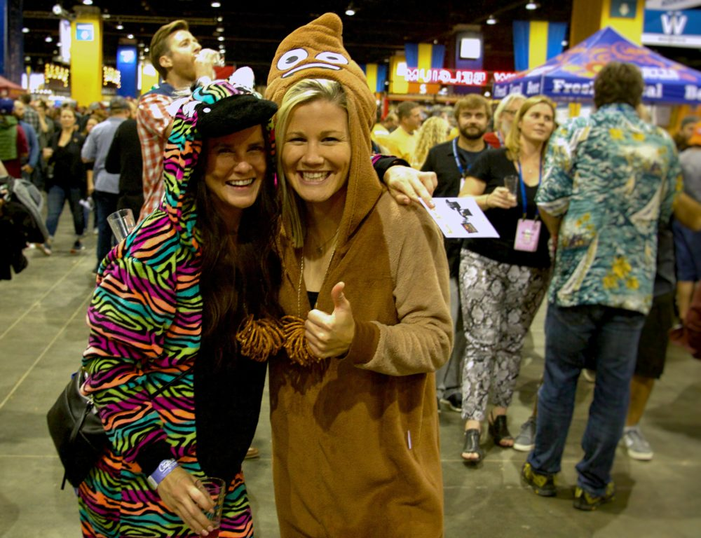 Noelle Lemonds and Carly Hamilton of Denver at the Great American Beer Festival on Thursday, Oct. 5, 2017. (Paul Karolyi for Denverite)