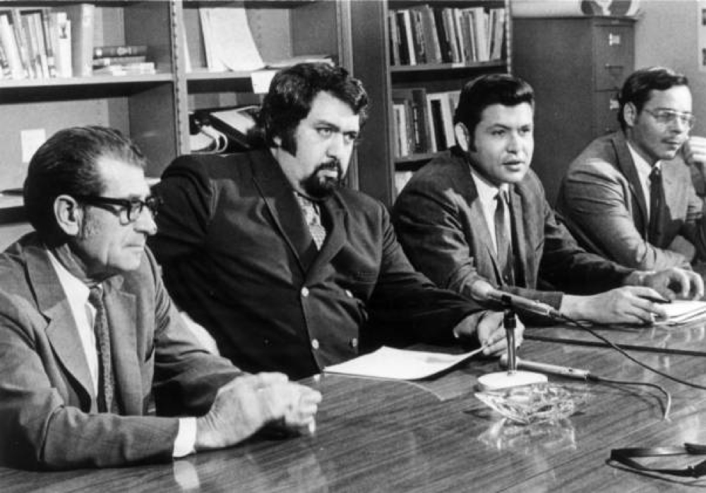 Sal Carpio (second from right) with Daniel I. Valdez and David Sandoval, all of Metro State College. (Denver Public Library/Western History Collection/X-21583)