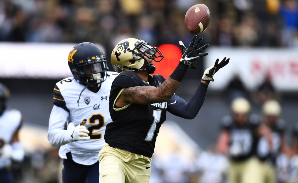 Colorado Buffaloes wide receiver Shay Fields (1) pulls in a touchdown reception past California Golden Bears cornerback Darius Allensworth (2) in the second quarter at Folsom Field. Oct 28, 2017; Boulder, CO. (Ron Chenoy/USA TODAY Sports)