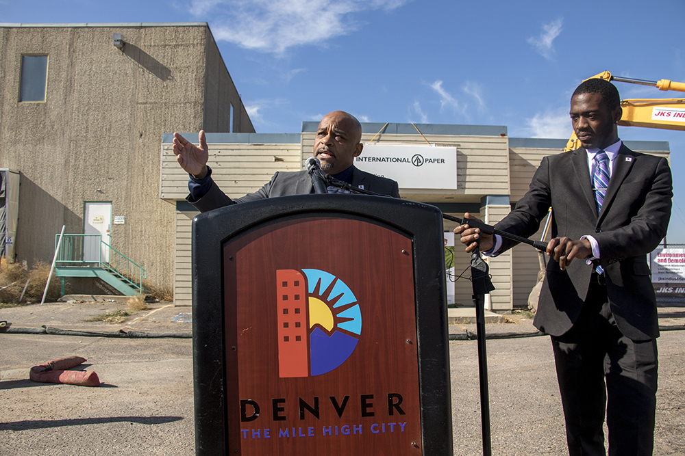 Mayor Michael Hancock speaks at the groundbreaking for the National Western Center at the old International Paper building in Elyria Swansea, Nov. 3, 2017. (Kevin J. Beaty/Denverite)  denver; colorado; denverite; kevinjbeaty; national western center; development; elyria swansea; construction;