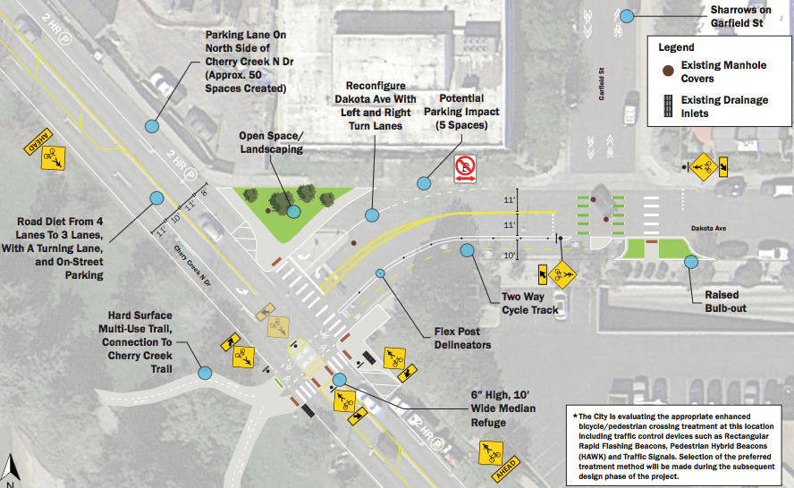 A concept plan for changes at Dakota and Garfield. (City and County of Denver)
