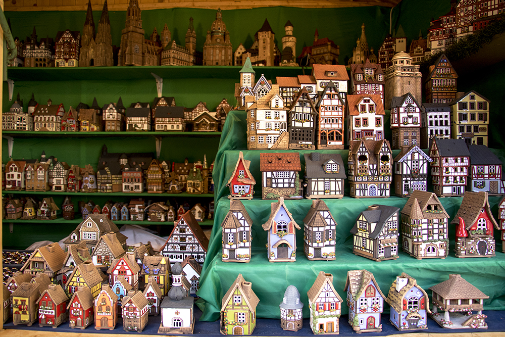 Little houses for sale at Audrey's Gifts From Afar, a booth at Skyline Park's Christkindl Market, Dec. 4, 2017. (Kevin J. Beaty/Denverite)