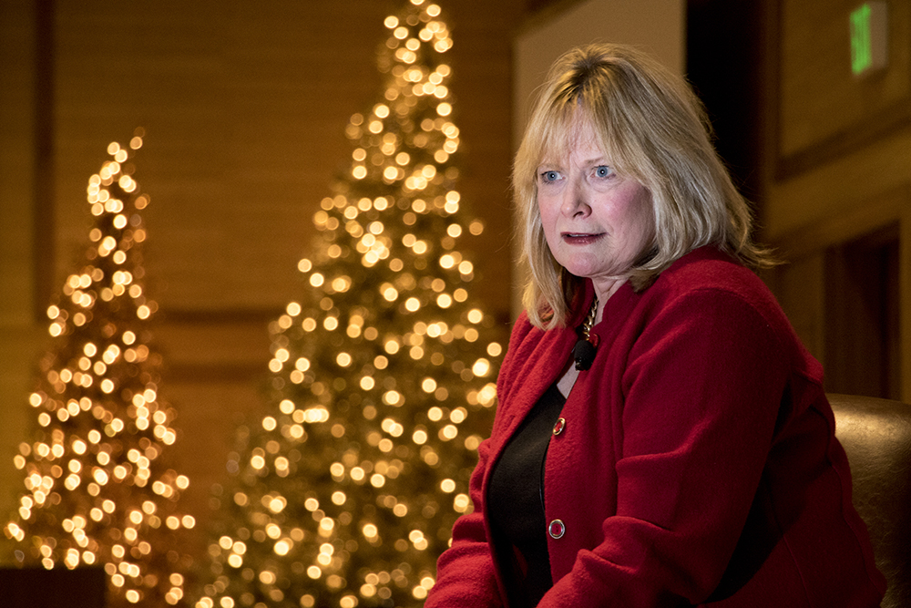 Republican gubernatorial candidate and Colorado Attorney General Cynthia Coffman speaks at the Colorado Health Institute's Hot Issues in Health conference, Dec. 8, 2017. (Kevin J. Beaty/Denverite)  denver; colorado; denverite; kevinjbeaty; election; governors race; gubernatorial; candidate;