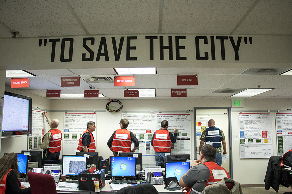 The Denver Office of Emergency Management practices a worst-case security scenario in their basement offices in the City and County Building, Dec. 15, 2017. (Kevin J. Beaty/Denverite)