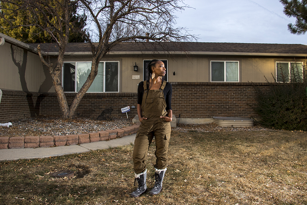 Zephrine Hanson in front of her home in the Hampden neighborhood. Jan. 30, 2018. (Kevin J. Beaty/Denverite)  denver; colorado; denverite; kevinjbeaty; hampden; suburbs;