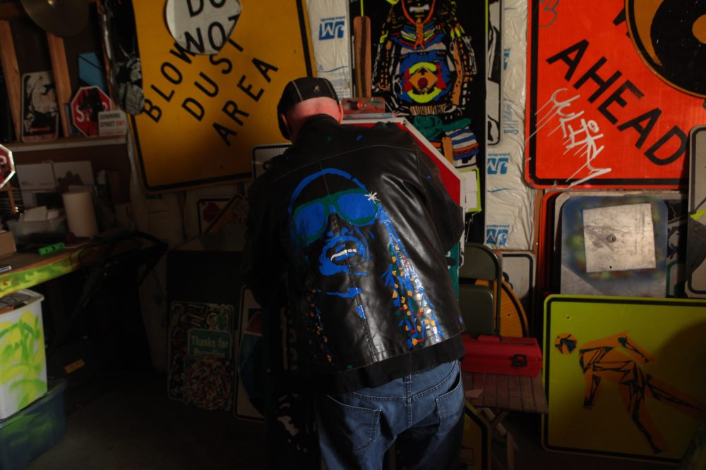 Dan Ericson's customized Stevie Wonder jacket. (Andrew Kenney/Denverite)