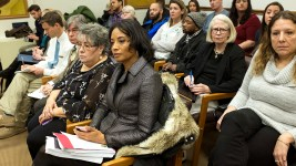 Lisa Calderón sits in at a Denver City Council committee meeting on the Community Reentry Project, Feb. 21, 2018. (Kevin J. Beaty/Denverite)  city and county building; city council; denver; denverite; colorado; kevinjbeaty;
