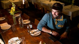 The Way Back co-founder Kade Gianinetti in the restaurant's new Tennyson Street location before it opens, Feb. 23, 2018. (Kevin J. Beaty/Denverite)  food; nightlife; berkeley; tennyson; denver; denverite; kevinjbeaty; colorado;