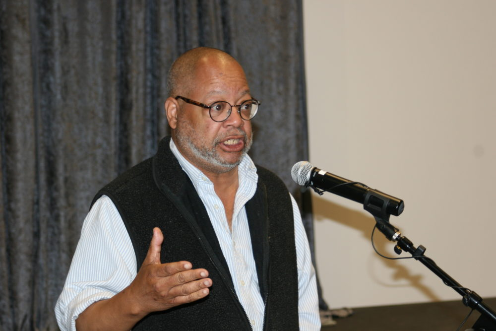 Dr. Greggory Diggs speaks at Stapleton name change event (Courtesy: Allan Tellis)